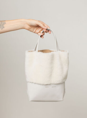 alice d white fur handbag