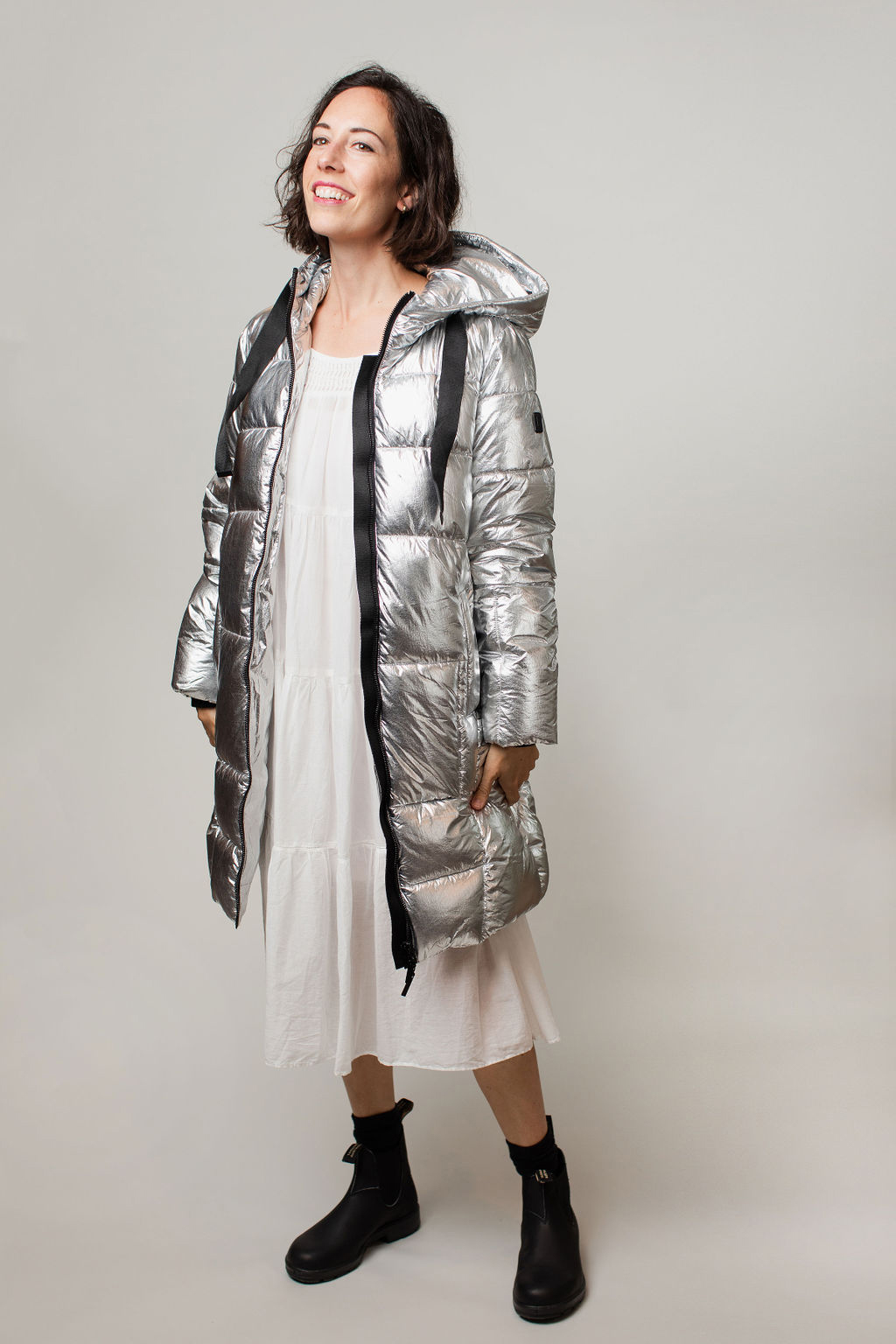 silver puffy coat