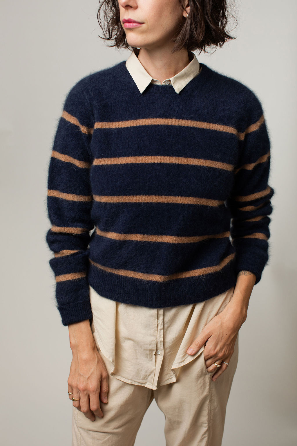 swtr striped sweater with xirena shirt