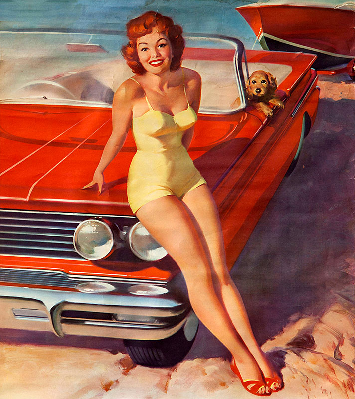 gil elvgren pin up with car and dog