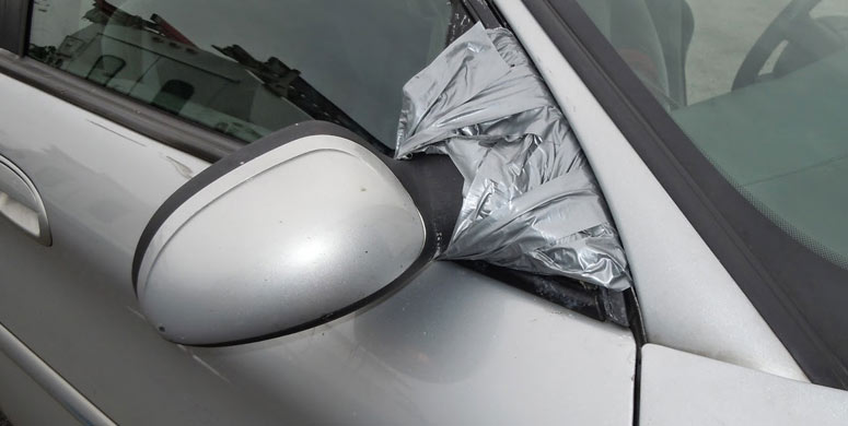 duct tape fix rearview mirror