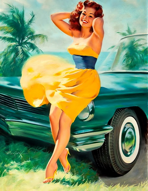 vintage car pin up girl