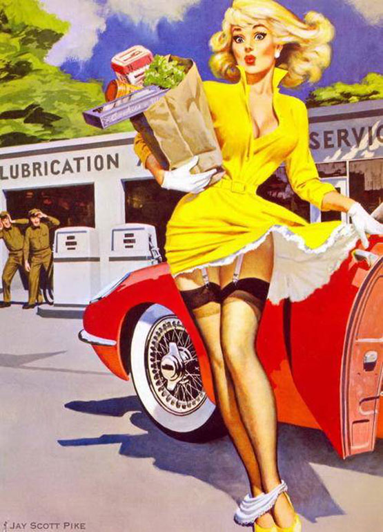 vintage pin up car girl