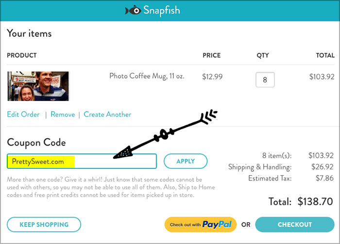 enter snapfish coupon code