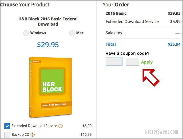 enter hr block coupon code