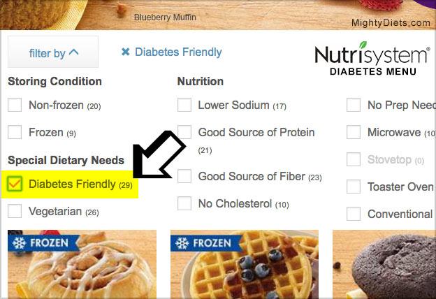 view nutrisystem diabetes friendly food