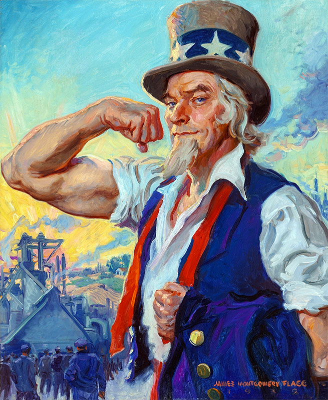 uncle sam flexing painting flagg