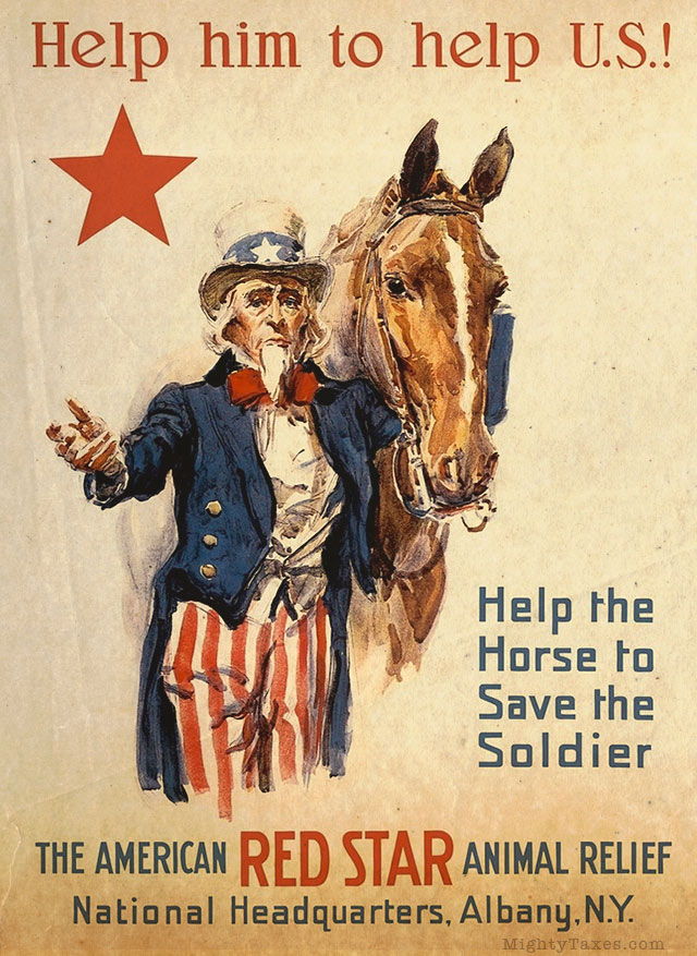 uncle sam red star horse poster
