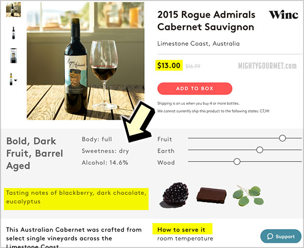 winc wine details notes