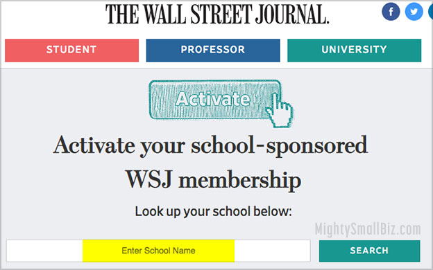 wsj subscription free for students