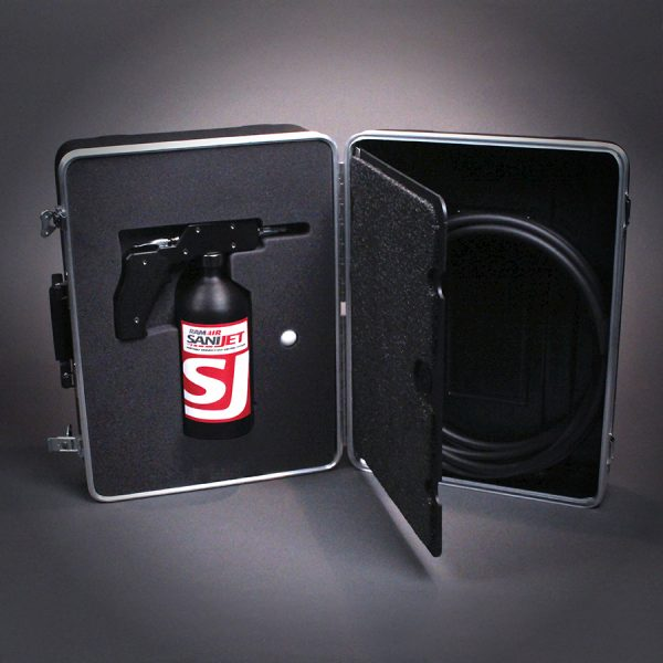 Product image of sanijet solution inside case.