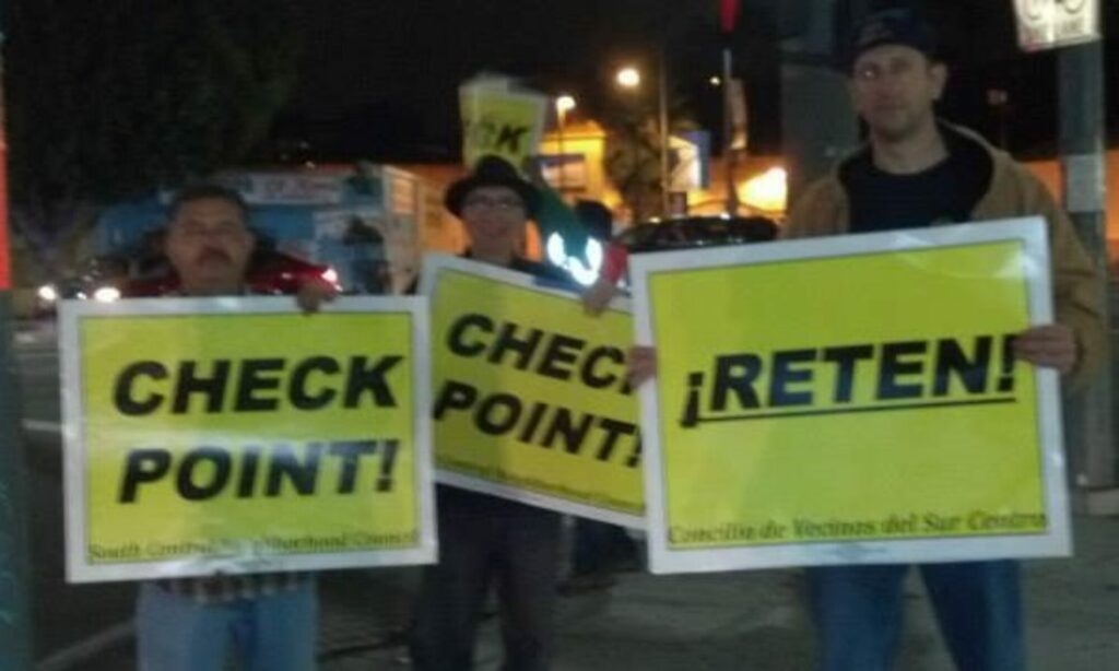 2011- Warning undocumented drivers of LAPD checkpoints, which would impound cars for minimum 30 days, then auction them and split profits with towing company.  Direct actions led to the CA drivers' license bill.