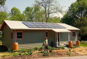 Residential solar energy PV system array metal roof