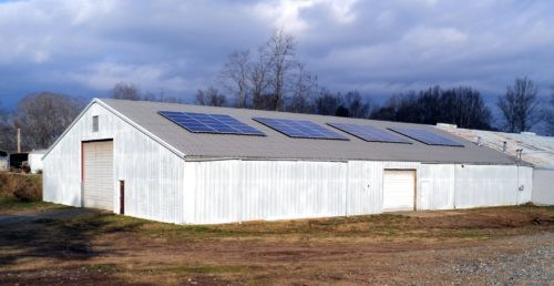 Brewery solar energy system on barn metal roof standing seam Marshall, North Carolina – Madison County