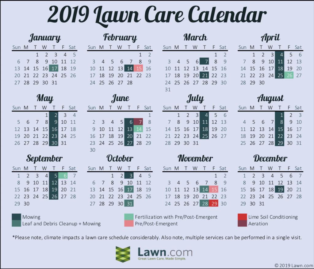 2019 Lawn Care Calendar