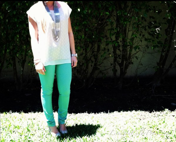Spring Pastel Outfit Mint Jeans