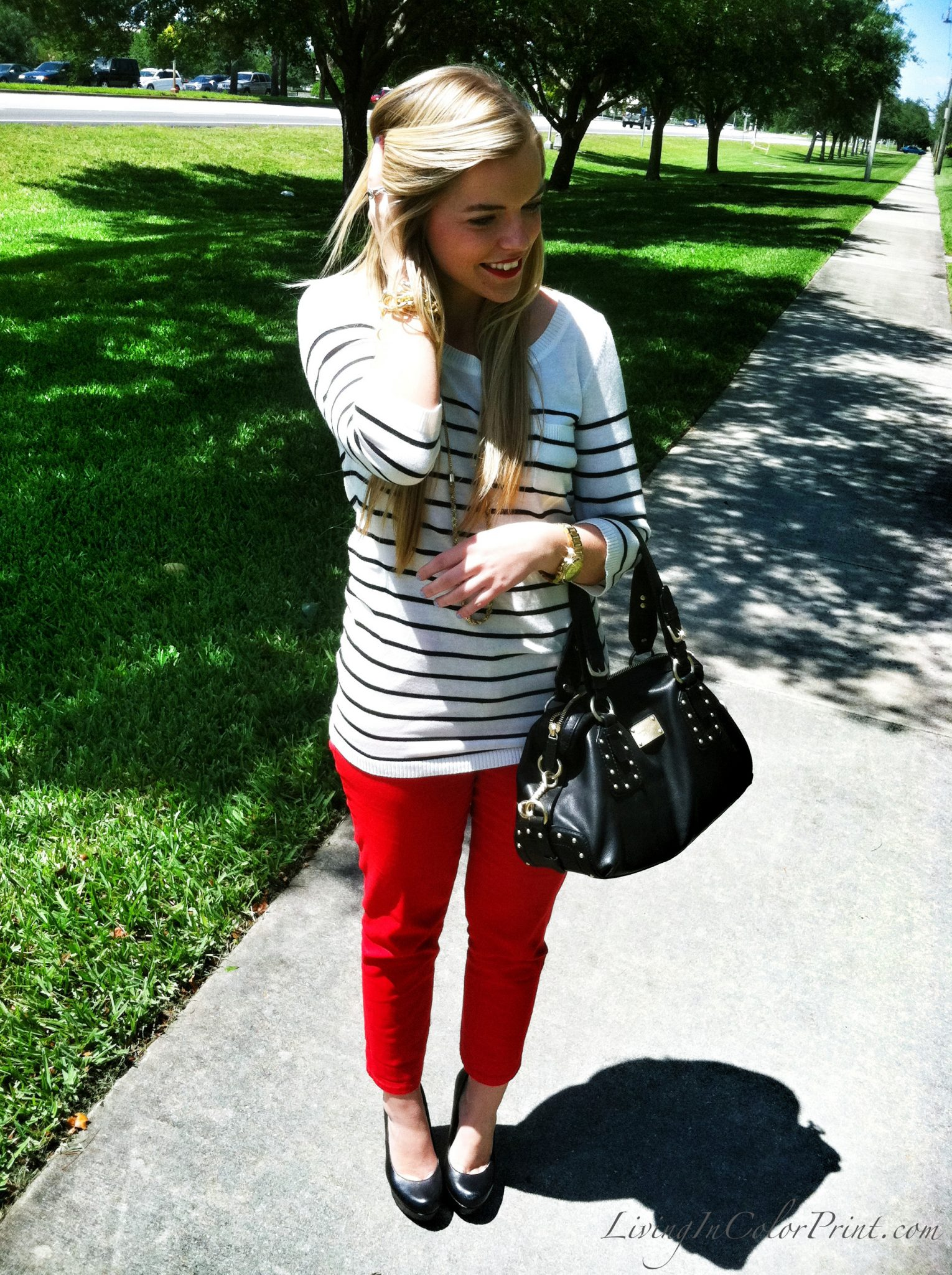 Red Pants and Stripes on Living In Color Print