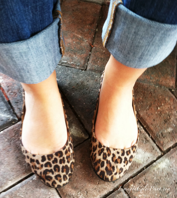 leopard flats and rolled up jeans