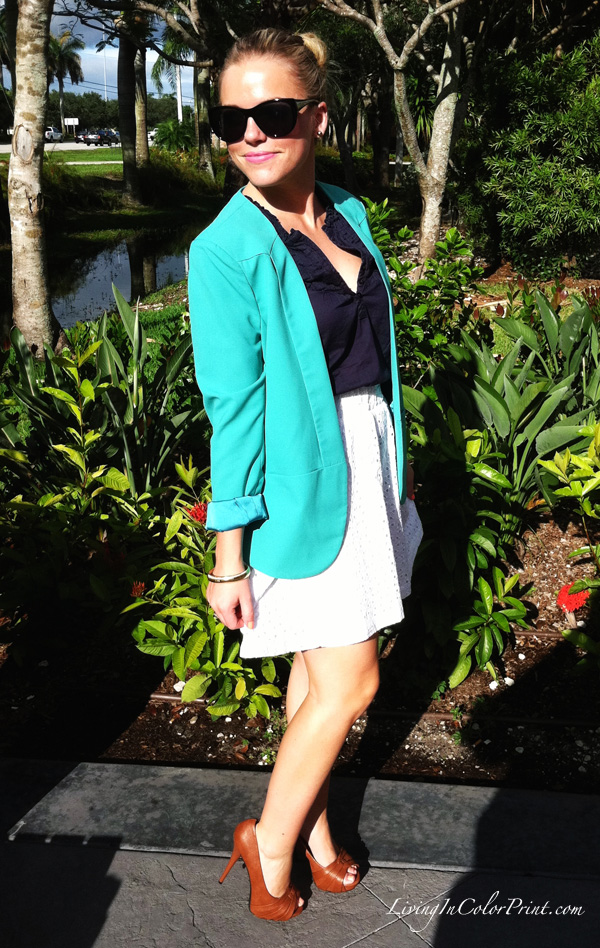 White Eyelet Skirt, Mint Blazer, Navy Shirt