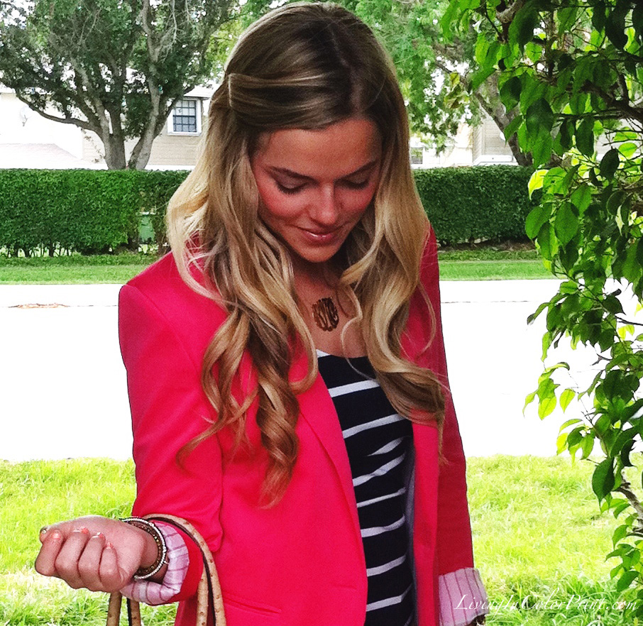 Pink Blazer and Monogram Necklace
