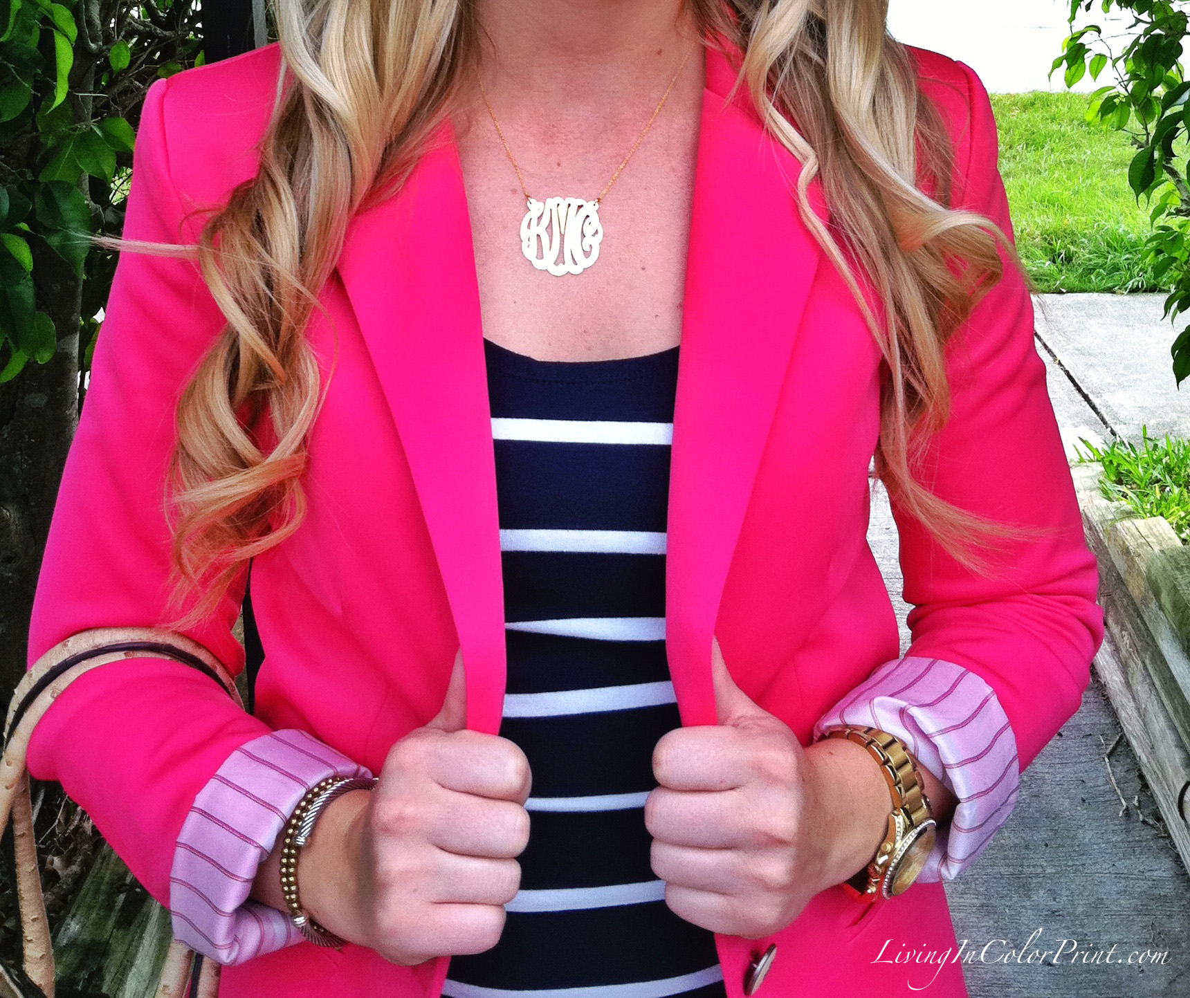 Eves Addiction Monogram Necklace and Pink Blazer