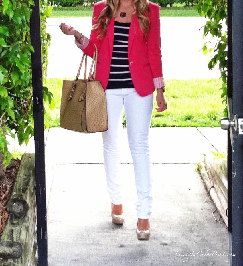 Kristin Clark Pink Blazer + White Skinnies