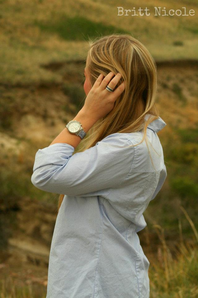 J Crew Button Down and Michael Kors Watch