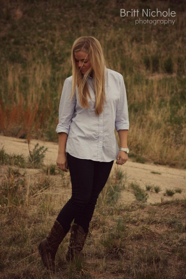 Steve Madden Cowgirl Boots & J Crew Button Down
