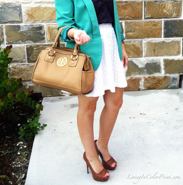 mint blazer, white skirt, tory burch purse