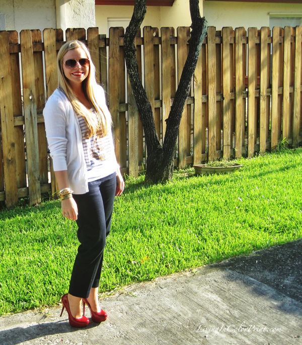 Navy crop pants, red pumps, anchor pant, white cardigan