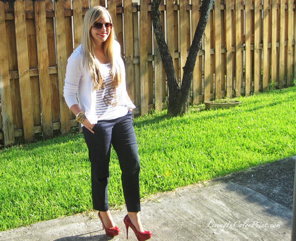 Nautical outfit, anchor tank, sailor look, red pumps