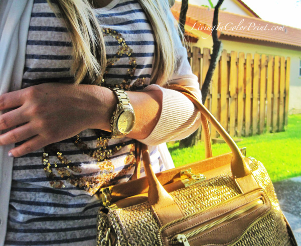 Oliva and joy miss priss gold straw satchel