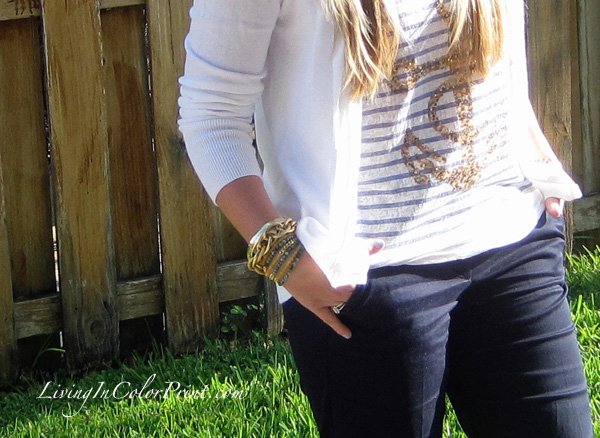 Mali beads arm candy, nautical blogger outfit, navy crop pants