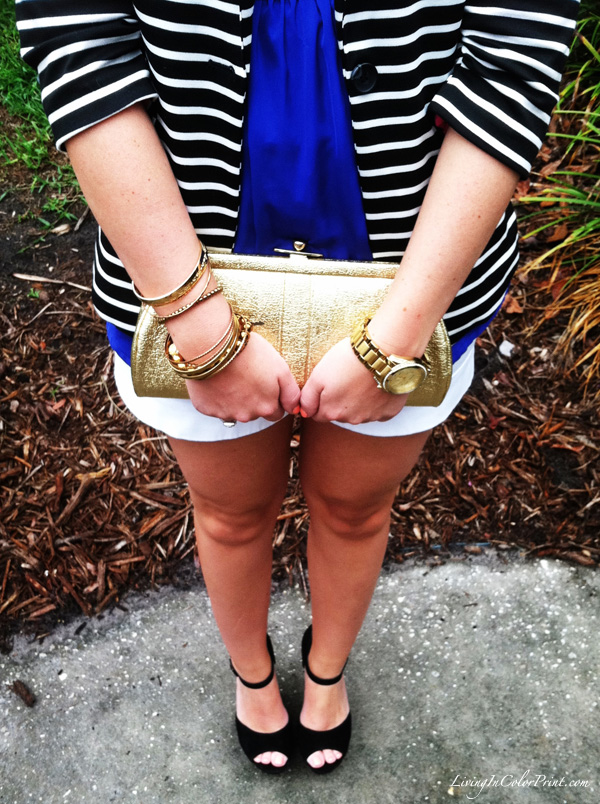White shorts, stripe blazer, black wedges, gold clutch
