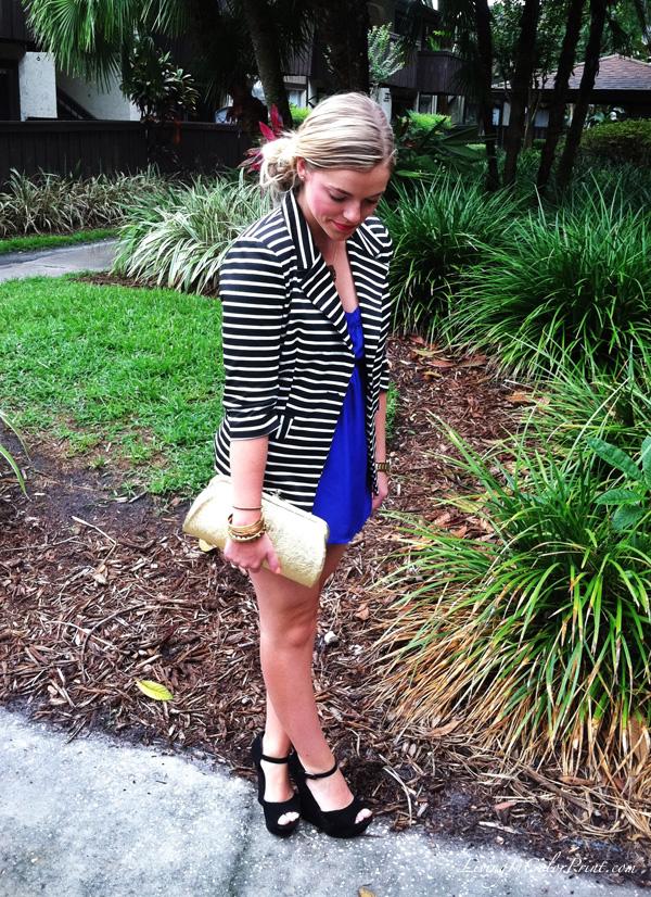 fashion blogger outfit, white shorts, stripe blazer