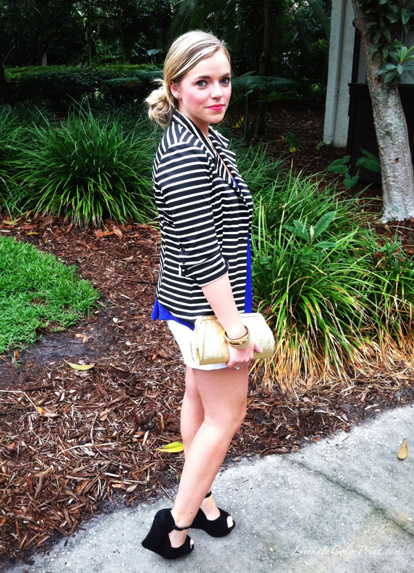 girls night out ootd, stripe blazer, blogger outfit