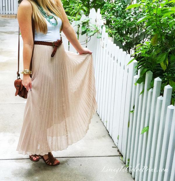 beige maxi skirt, white cami, gladiator sandals