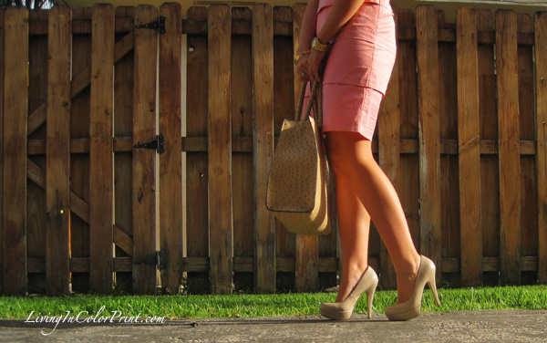 pale pink LOFT dress, nude pumps, statement bib necklace