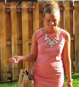 blogger outfit, shift dress, pale pink dress