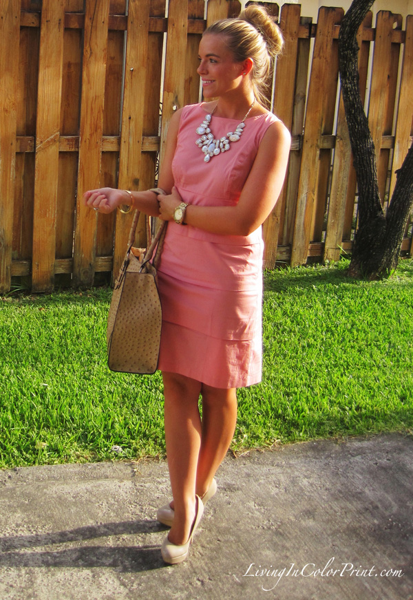 blogger pale pink dress