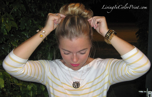 LOFT yellow stripe shirt, monogram necklace from eve's addiction, bracelets from Ashley Duncan