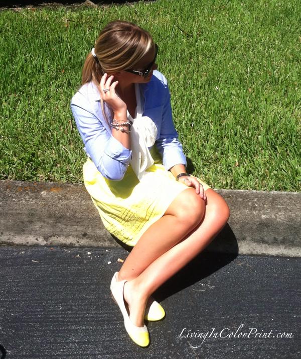 neon yellow skirt_chambray top