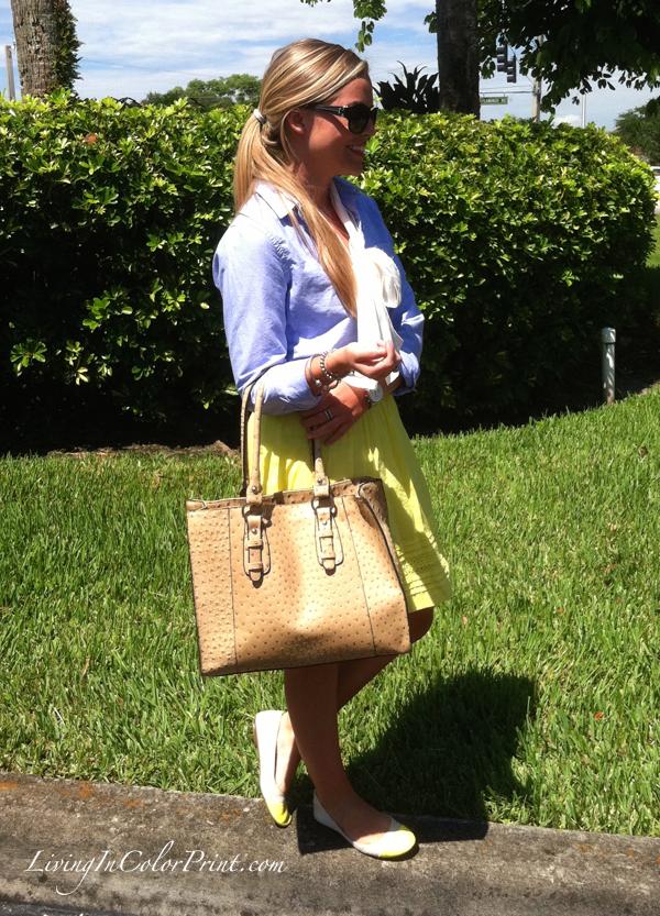 neon yellow skirt, chambray top, cream chiffon bow top