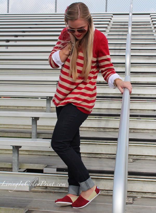 Levis styled with striped sweater
