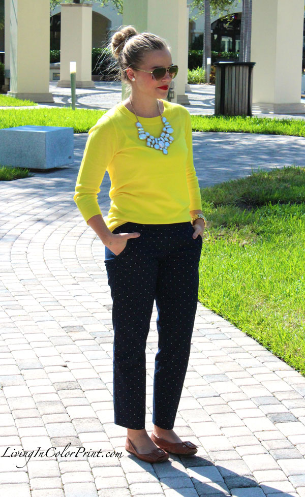 Blogger outfit of the day, polka dot crop pants, citron sweater