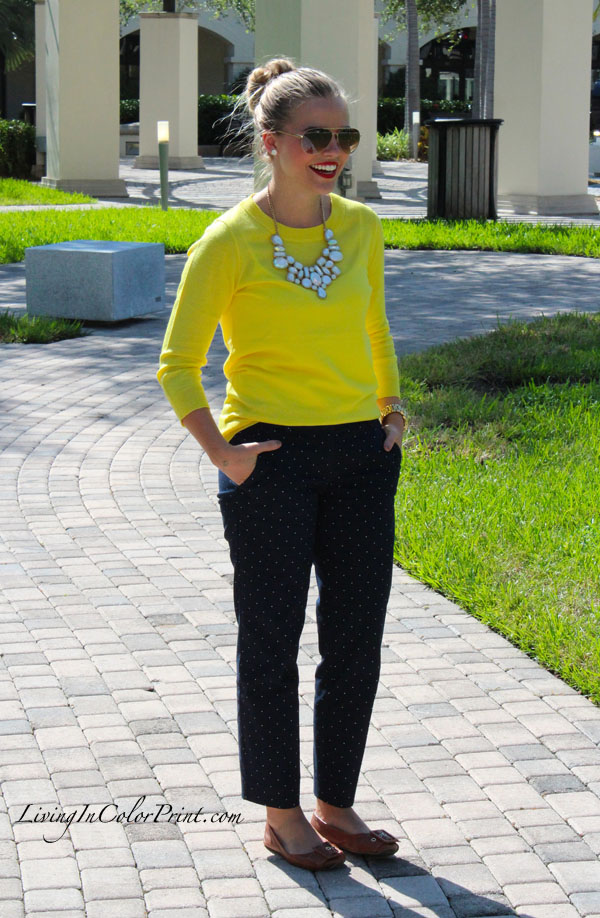 Miami fashion blogger, polka dots pants, citron J Crew sweater, fall 2012 fashion trends