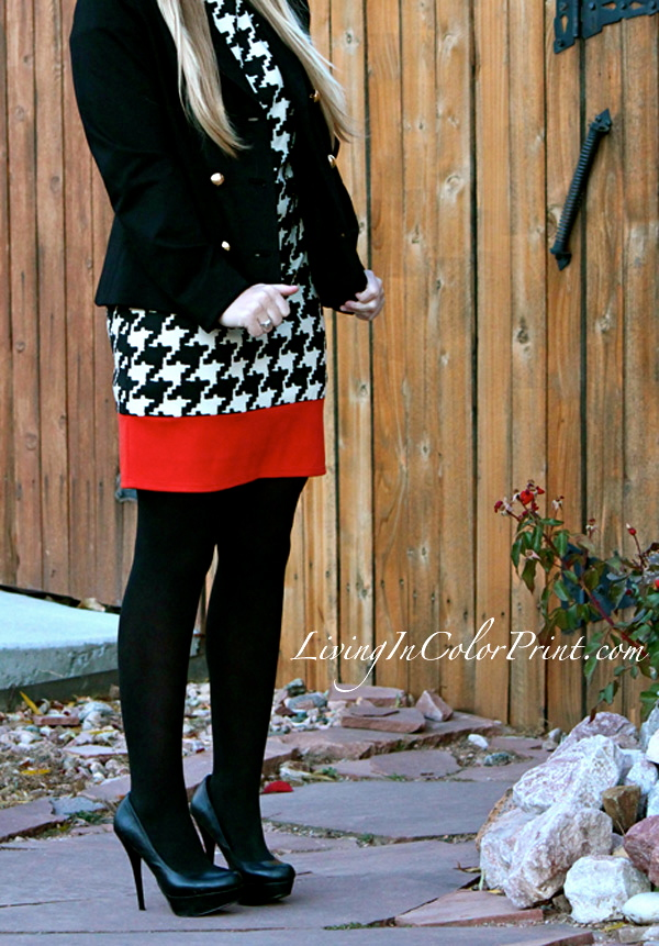 Houndstooth with a Twist, Houndstooth for Fall, how to wear houndstooth, houndstooth and orange