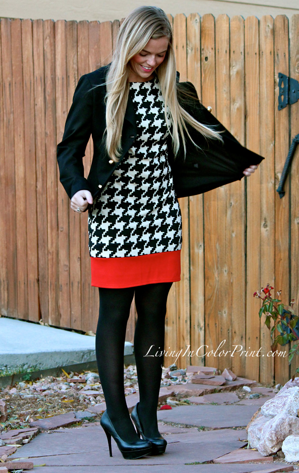 Shifty in Houndstooth, Houndstooth Shift dress, Alice and Trixie jacket