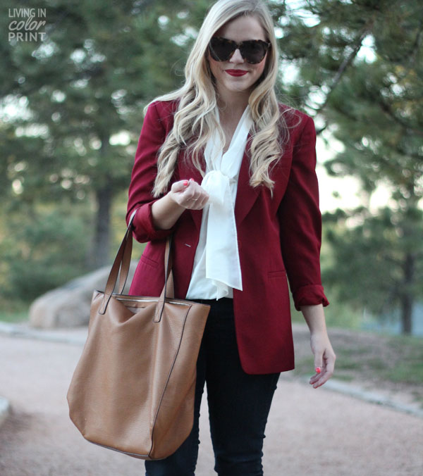 Burgundy Blazer | Living In Color Print
