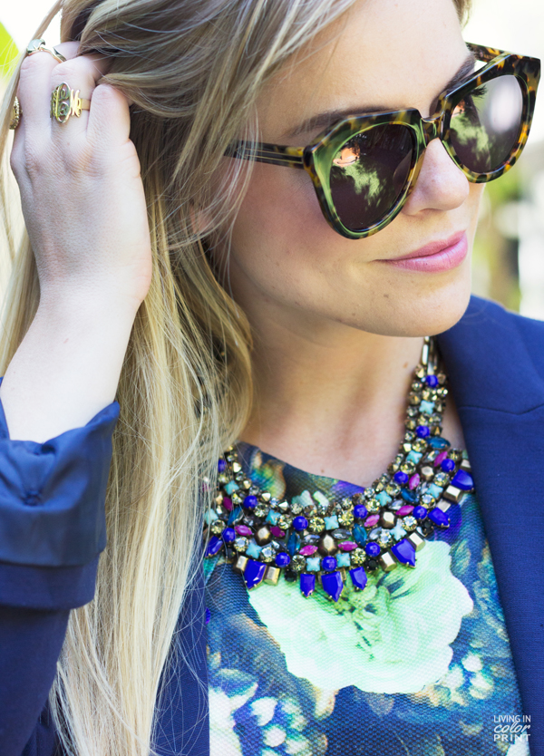 Navy Floral] | Living In Color Print